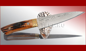 Нож кухонный Takeshi Saji ST-01 Custom Damascus Gyuto Stag Bone 135mm